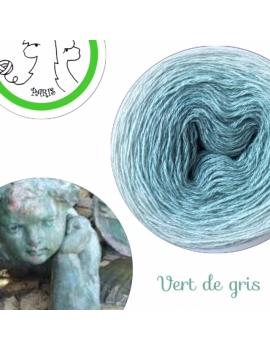 "Fil fingering Alpaga Soie (long gradient yarn cake) ""Vert de Gris"""