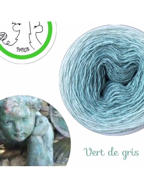 "Fil fingering Alpaga Soie (gradient yarn cake) ""Vert de Gris"""