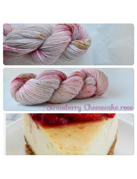 """Strawberry Cheesecake Rose"" DK 100% Alpaca"