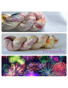 """Fireworks"" Single Fingering Merino & Silk Yarn"
