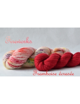 """Fireworks+Framboise écrasée"" Sock Yarn Merino Alpaca & Nylon"