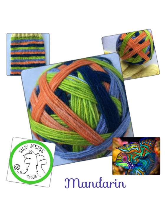 """Mandarin"" Self-Striping Sock Yarn Merino Alpaca & Nylon"