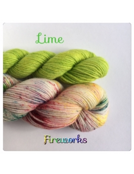 """Fireworks+Lime"" Sock Yarn Merino Alpaca & Nylon"