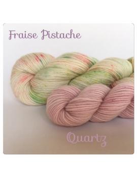 """""""Fraise Pistache+Quartz"""" Fil à Chaussette Mérinos Alpaga & Nylon"""
