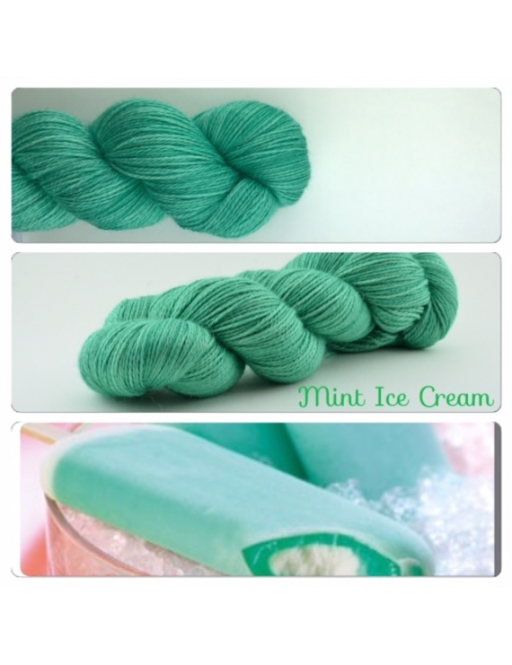 """Mint Ice Cream"" Fil fingering Alpaga & Soie"