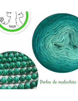 Perles de Malachite Fil Single Fingering Merinos & silk (long gradient yarn cake)