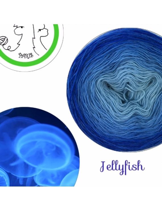 """Jellyfish"" Single Fingering Merino (long gradient yarn cake)"