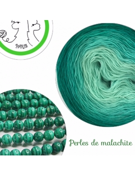 """Perles de Malachite"" Fil Single Fingering Mérinos (long gradient yarn cake)"