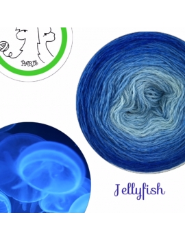 """Jellyfish"" Fingering Baby Alpaca & Silk Yarn (gradient yarn cake)"