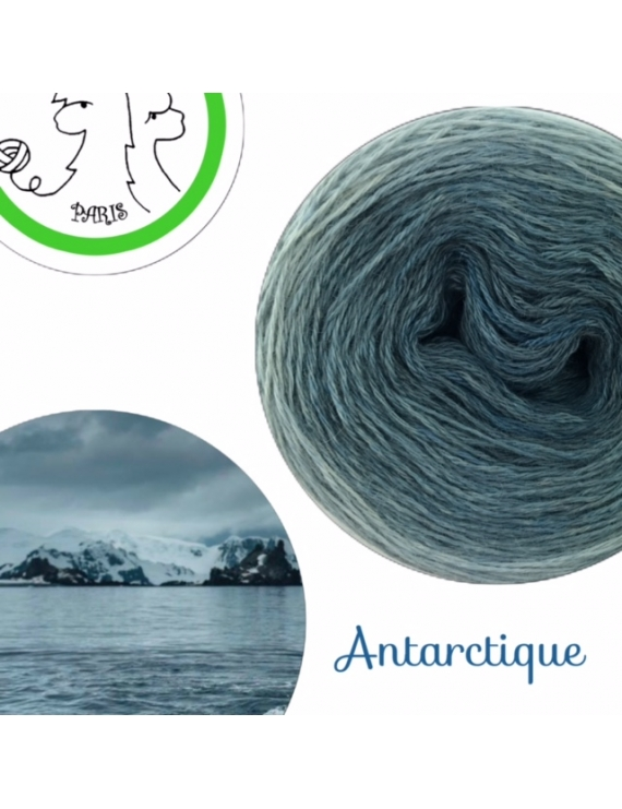 """Antarctique"" Fil fingering Baby Alpaga et Soie (long gradient yarn cake)"