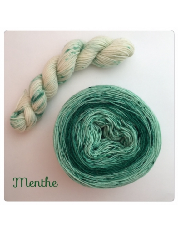 """""""Menthe"""" Double Gradient Fil à Chaussette Mérinos Alpaga & Nylon"""