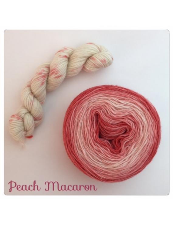 """Peach Macaron"" Double Gradient Fil à Chaussette Mérinos Alpaga & Nylon"