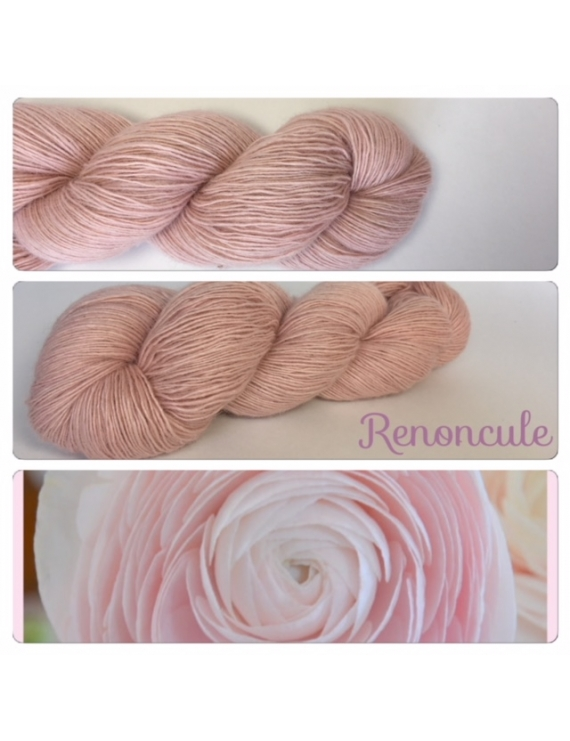 """Renoncule"" Single fingering Alpaga Rose Fiber"