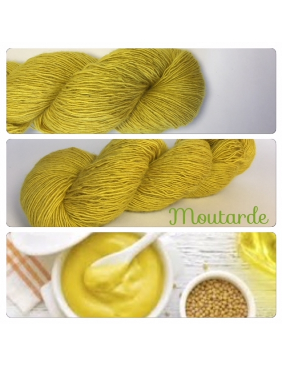"""Moutarde"" Single fingering Alpaga Rose Fiber"