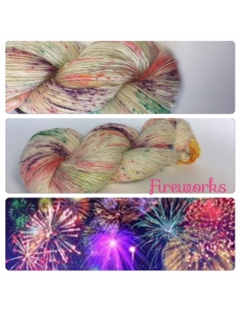 """Fireworks"" Single fingering Alpaga Rose Fiber"