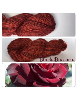 """Black Baccara"" Single fingering Alpaga Rose Fiber"