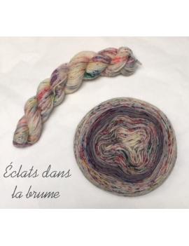 """""""Eclats dans la brume"""" Double Gradient Fil à Chaussette Mérinos Alpaga & Nylon"""