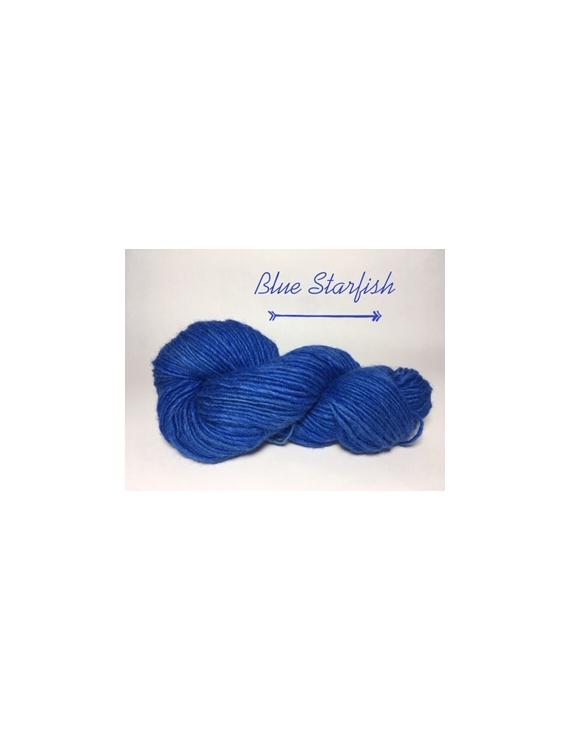 """Blue Starfish"" Fil Bulky Lopi 50 % fine alpaga 50 % Mouton"