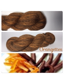 """Orangettes"" Single fingering Alpaca Tencel"