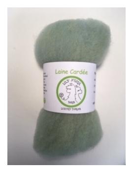 """Laine cardée 100 % Mouton Ile de France """"Vert d'eau"""""""