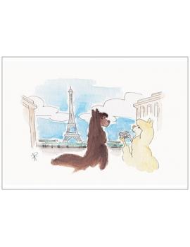 Carte Postale LILY et NEIGE à Paris