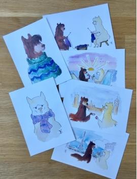 Lot de 6 cartes postales LILY et NEIGE