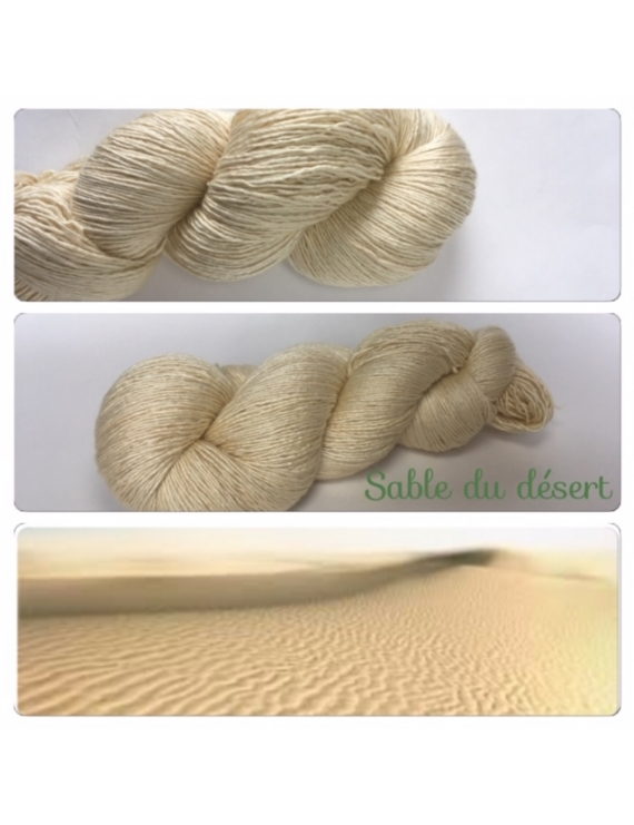 """Sable du Desert"" Fil Single Fingering Mérinos et Soie"
