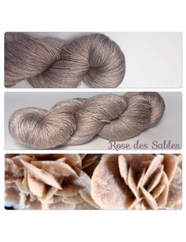 """Rose des sables"" Fil Single Fingering Mérinos et Soie"