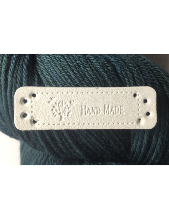 """Hand Made"" Etiquette Decorative Faux Cuir Blanc"