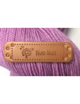 """Hand Made"" Etiquette Decorative Faux Cuir Cognac"