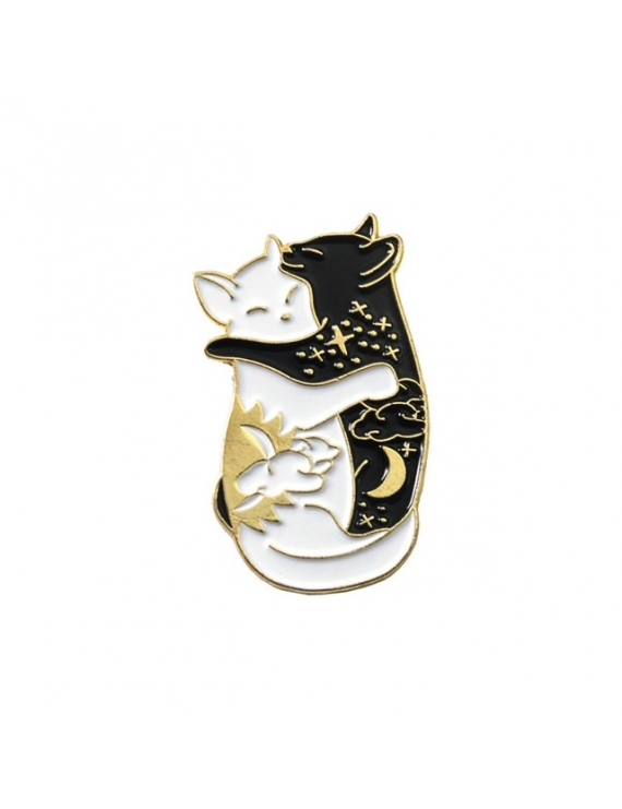 """Chats Yin Yang allongés Or"" Pins"
