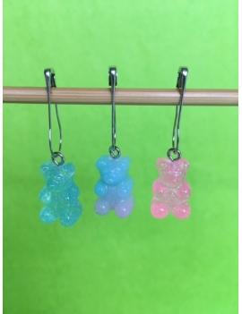 """""""Bonbons Oursons Bicolores Paillettes""""  lot de 3 Anneaux marqueurs Amovibles"""