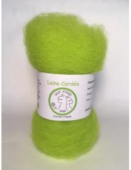 """Vert Anis"" fibre cardée pour feutrage 100 % Alpaga"