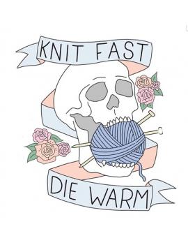 """Knit Fast Die Warm Tête de mort"" Pins"