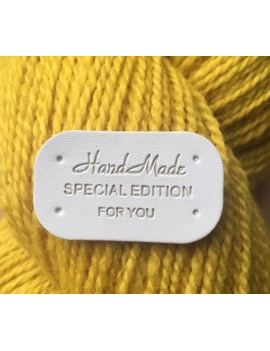 """Hand Made Special Edition for You"" Etiquette Decorative Faux Cuir Blanc"