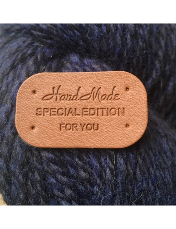 """Hand Made Special Edition for You"" Etiquette Decorative Faux Cuir Cognac"