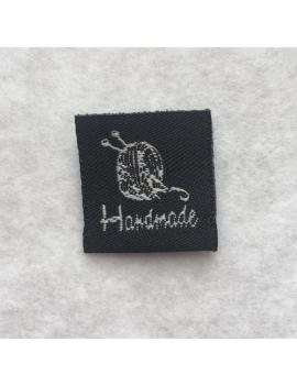 """""""Hand Made"""" Etiquette Decorative Tissus Noire Carrée"""