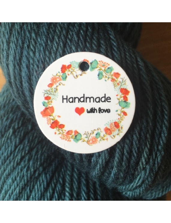 """""""Hand Made With Love"""" Etiquette ronde Carton Blanc"""