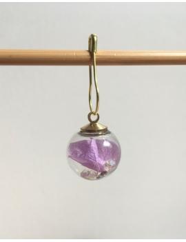 """""""Boule de verre fleur violette et paillettes"""" Anneau marqueur"""