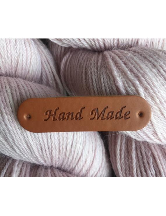 """""""Hand Made"""" Etiquette Decorative Faux Cuir Cognac"""