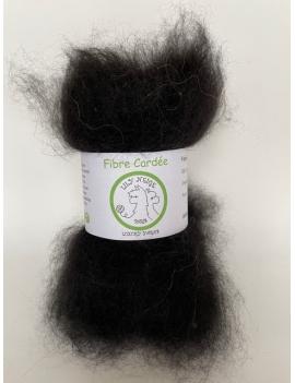 """""""Noir"""" fibre cardée pour feutrage 100 % Alpaga"""
