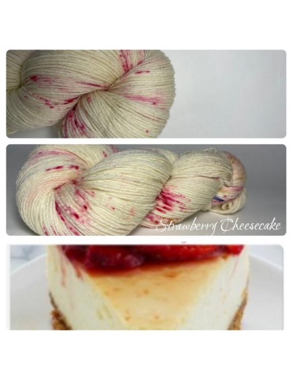 """Strawberry Cheesecake"" Fil Mérinos Alpaga & Nylon"