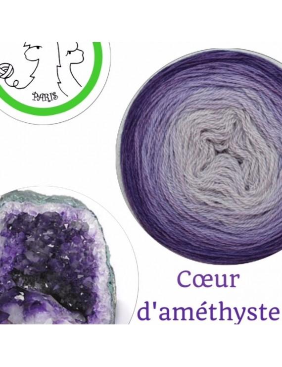 "Fil fingering Alpaga Soie Cachemire (gradient yarn cake) ""Coeur d'Améthyste"""
