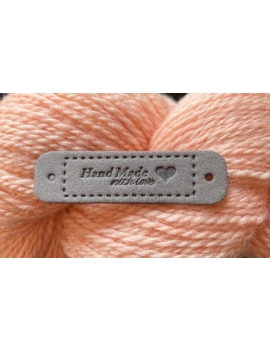 """""""Hand Made With Love"""" Etiquette Decorative Faux Cuir Gris"""