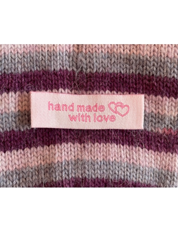 """""""Hand Made With Love"""" Etiquette Decorative Tissus Rose longue"""